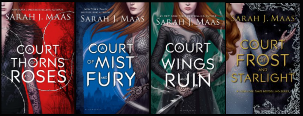 The old covers of Sarah Maas' ACOTAR series