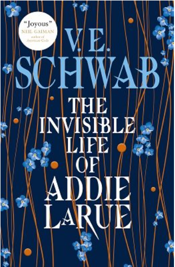 The Invisible Life of Addie LaRue cover: small blue flowers in running vertically on stems.