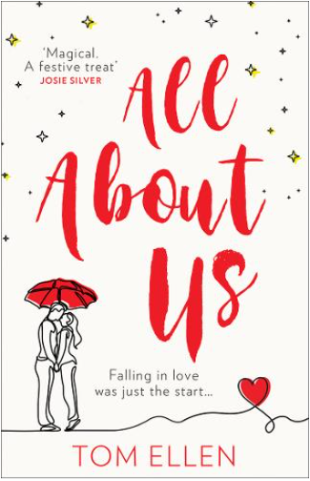 The All About Us cover: it has a doodle drawing in the left corner in black and white with a red umbrella over them. There is a heart off to the right that is also red. The title is in red and there are yellow drawings of stars that are diamond shaped.