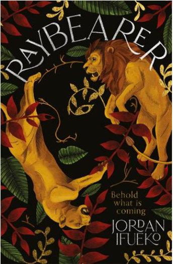 The Raybarer cover: a male and female lion with different red and green leaves.