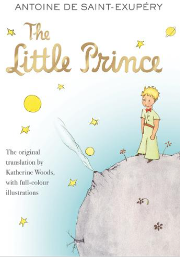 The Little Prince cover: a cartoon child on possibly an asteroid with stars and planets in the background.